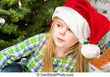 portrait of a young girl during christmas day