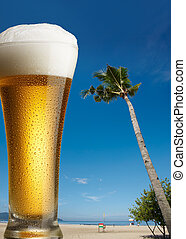 beer on beach - glass of beer on beach with sunny day