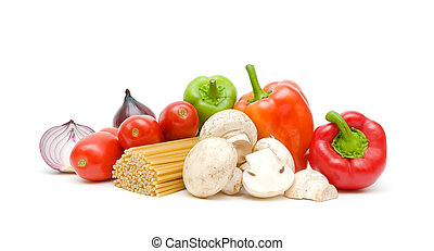 pasta, vegetables and mushrooms on a white background close-up