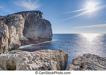 Fungus Rock, on the coast of Gozo, Malta - Fungus Rock,...