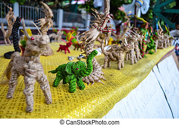 thai hand craft - green elephant rope craft