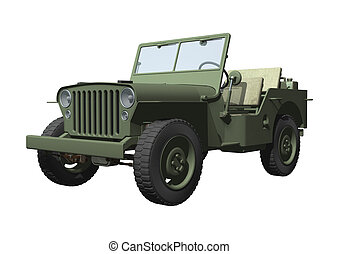 Jeep - 3D digital render of a jeep isolated on white...