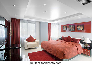 interior - Panoramic view of nice stylish modern bedroom....