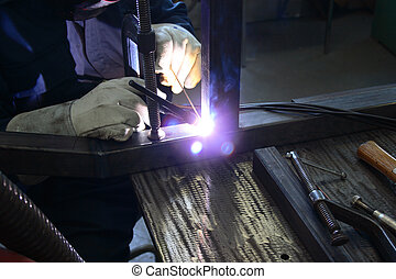 Welding - Close view of welder at work