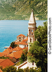 perast - Panoramic image of nice summer European old town