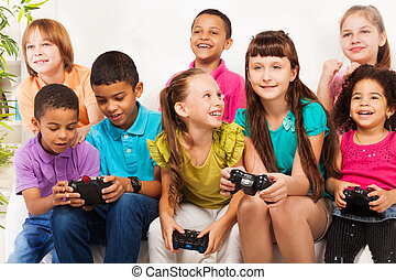 Gaming together - Close portrait of a group of diversity...
