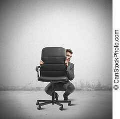 Hide from the crisis - Concept of businessman hiding from...