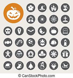 Christmas and Halloween icon set - Christmas Halloween icon...