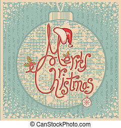 Merry Christmas card with text.Vintage greeting illustration