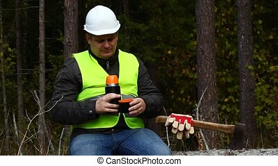 Lumberjack sipping tea from a thermos episode 1