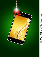 mobile phone with christmas screen over green background