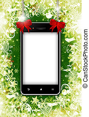 mobile phone with place for text with christmas background