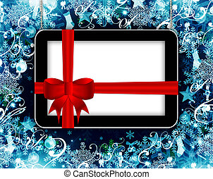 tablet with place for text over christmas background