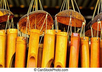 bambú, viento, carillones, sonido, ahorcadura