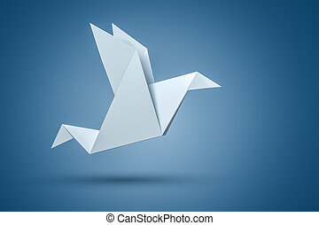 Origami Bird - An image of an origami bird on a blue...