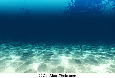 Sandy bottom, blue and surface underwater 3d