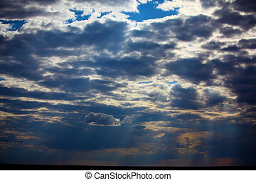 Beautiful dramatic sky with sun rays