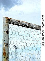 Goal football with blue sky.