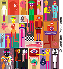 People - Large group of people. Art composition of abstract...