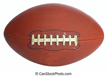 football - brown leather laced football isolated on white...