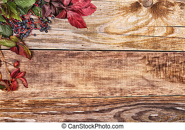 Autumn leaves on old wood