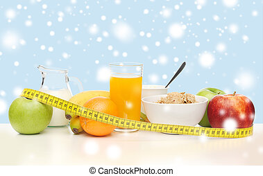 healthy breakfast and measuring tape - food, nutrition,...