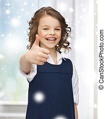 pre-teen girl showing thumbs up - family, children,...