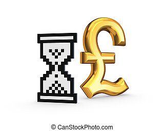 Pound sterling and sandglass icon. - Moleculas.Isolated on...
