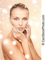 face, hands and shoulders of beautiful woman - health, spa,...
