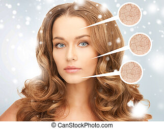 face of beautiful woman - health and beauty concept - face...