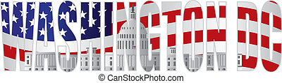 Washington DC Text Outline Capitol US Flag - Washington DC...