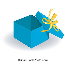 Opened Holiday Gift Box - Empty blue box opened for putting...