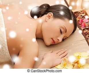 mulher, spa, salão, mentindo, massagem, escrivaninha