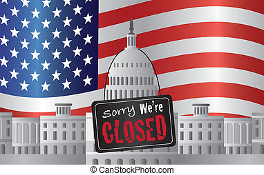 Washington DC Capitol with We Are Closed Sign - Washington...