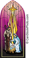 Basic CMYK - Vector illustration of the holy family of the...