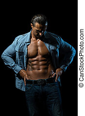 Look My Six Pack - Muscular Man Showing Off With his Abs ,...