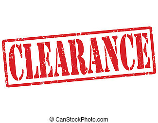 Clearance stamp - Clearance grunge rubber stamp on white,...