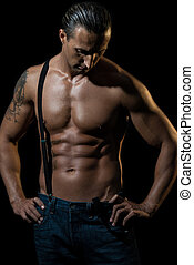 Sexy man with black suspenders over naked chest - Fitness -...