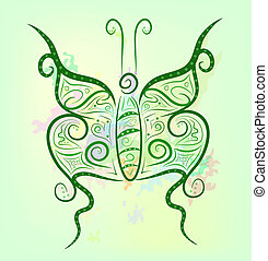 Fancy contrast butterfly on a bright colorful background Eps...