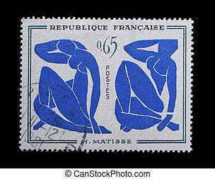 Blue nude stamp - oversized french commemorative stamp
