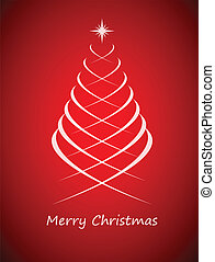 Simple christmas tree on red background