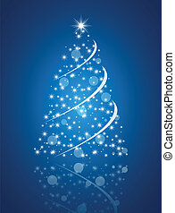 Simple christmas tree on blue background