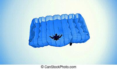 Sky walker - Parachutist ,few moment from a ground.