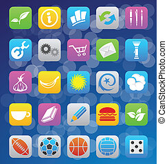 various ios 7 style mobile app icons - vector illustration...