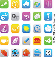 vector illustration of various ios 7 style mobile app icons isolated on a white background