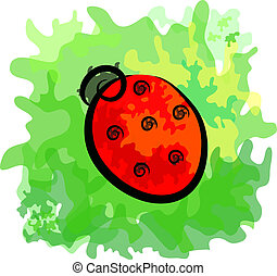 Stylized bright contrast ladybird on a green leaf Eps 10