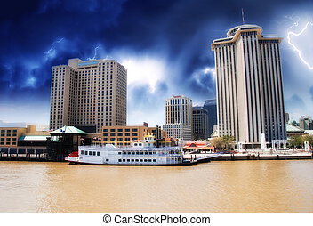Skyscrapers and Buildings over a Brown River