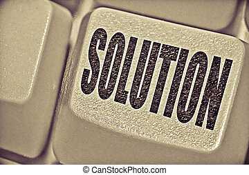 Solution Concept with Computer Key On Keyboard