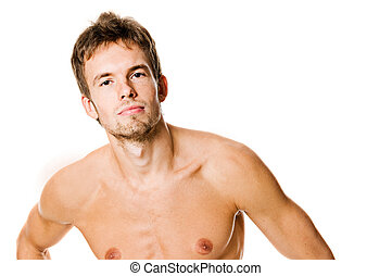 Healthy young man isolated on white background