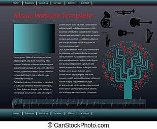 music web site design template - Vector music web site...